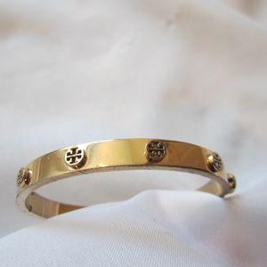 Tory Burch Rose Gold Logo Metal Hinged Bracelet